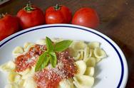 Stock Photo of orecchiette and tomato sauce