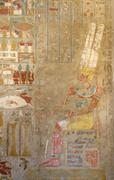 painting at the mortuary temple of hatshepsut - stock photo