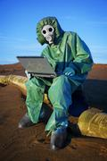 Ecologist scientist in ecological disaster zone Stock Photos
