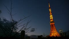 Tokyo Tower ar sunset with cloud Stock Footage