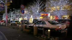 Tokyo illumination - Police car and ghost effect in Roppongi Stock Footage