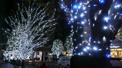 Tokyo illumination - christmas trees and traffic - HD Stock Footage