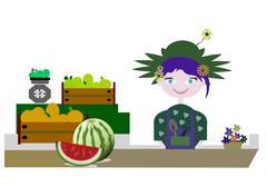 Fruit market Stock Illustration