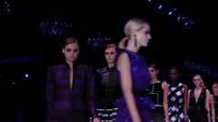 Beautiful models  Fashion show-Finale- close up Stock Footage