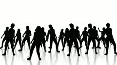 Dancers Silhouette reflections Stock Footage