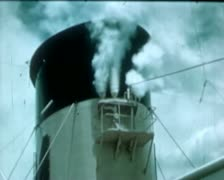 1930 - Cruise Liner leaving harbour - close shots Stock Footage