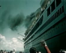 1930 - Cruise Liner leaving harbour - tracking shot Stock Footage