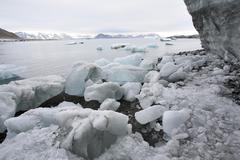 Landscape of the Arctic: ice, fjord, glacier Stock Photos