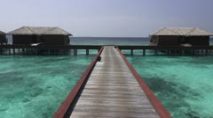 Aerial jetty and lagoon Stock Footage