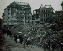 WW2 Color Footage - escaping survivors in berlin 1945 Stock Footage