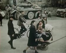 WW2 Color Footage - escaping survivors in berlin 1945 - stock footage