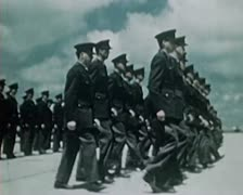 WW2 Color Footage - Marching US Soldiers after war ends Stock Footage
