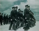 Stock Video Footage of WW2 Color Footage - Marching US Soldiers after war ends