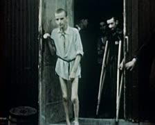 Stock Video Footage of WW2 Color Footage - survivors of concentration camp 1945