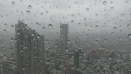 Aerial view of Tokyo city during rain storm, Japan Stock Footage
