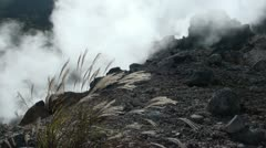 Sulphur near active volcano in Japan Stock Footage