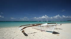 Sailing boat on tropical beach Stock Footage