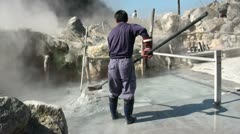 Hot spring for boiling black eggs in Hakone, Japan Stock Footage