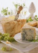 A piece of Gorgonzola & a piece of Parmesan with cheese knife - stock photo