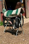 Bareback saddle on a stand Stock Photos