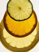 Lime, orange and grapefruit slices, backlit Stock Photos