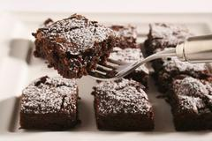 Brownies with icing sugar - stock photo