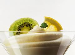 Lemon cream in dessert bowl Stock Photos