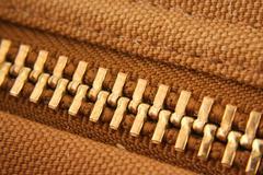 large gold zipper macro - stock photo