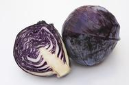 Stock Photo of Red cabbage, whole and halved