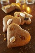 Christmas gingerbread biscuits with almonds and raisins (Lebkuchen) Stock Photos