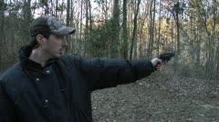 Guns, MAN SHOOTS SNUB NOSE, Taurus 605 Protector .357 MAGNUM REVOLVER Stock Footage