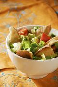 Fattoush: bread and vegetable salad (Lebanon) - stock photo