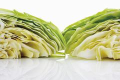 Pieces of pointed cabbage Stock Photos