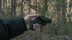 Guns, CU FIRING TAURUS 605 .357 MAGNUM REVOLVER Stock Footage