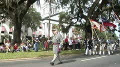 American Civil War, Confederate reenactors march in Veterans Day Parade - stock footage