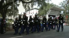 US MARINES MARCH IN VETERANS DAY PARADE - stock footage