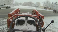 Tractor moving snow from road and driveway Point Of View HD 008 Stock Footage