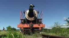 Valle de los Ingenios train, old steamtrain, front - stock footage