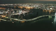 Stock Video Footage of Tokyo aerial shot in the night