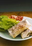 Chicken wraps with salad - stock photo