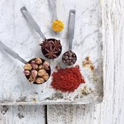 Ras el Hanout (Spice Mix) with Some of the Spices Found In It Stock Photos