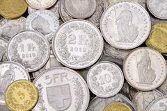 Pile of Modern Swiss Franc Coins - stock photo