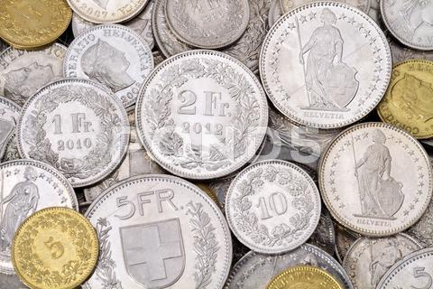 Stock photo of Pile of Modern Swiss Franc Coins