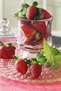 Fresh Strawberries in an Apothecary Jar Stock Photos