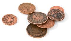 Antique bronze russian coin Stock Photos
