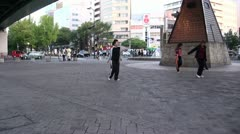 Girls are practicing a dance on the streets of Nagoya, Japan Stock Footage