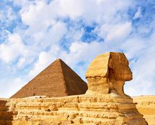 mysterious Sphinx and the Great Pyramid - stock photo