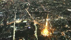 Tokyo Tower aerial shot Stock Footage