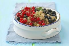 Redcurrants, whitecurrants and blackcurrants in a bowl Stock Photos