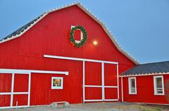 Stock Photo of Red Christmas Barn